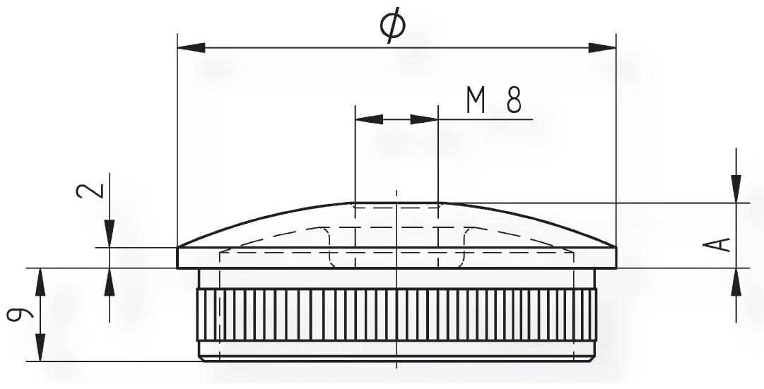 Edelstahlkappe hohl mit Gewindebohrung M8