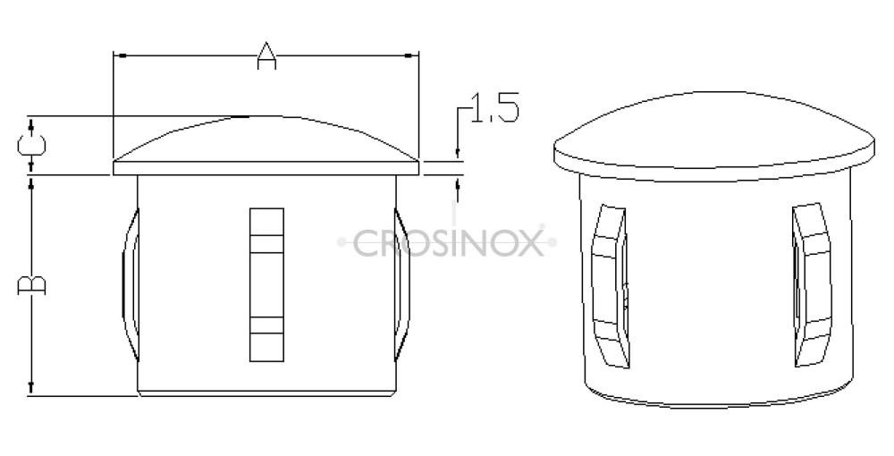flexible Endkappe für Rundrohre Zeichnung