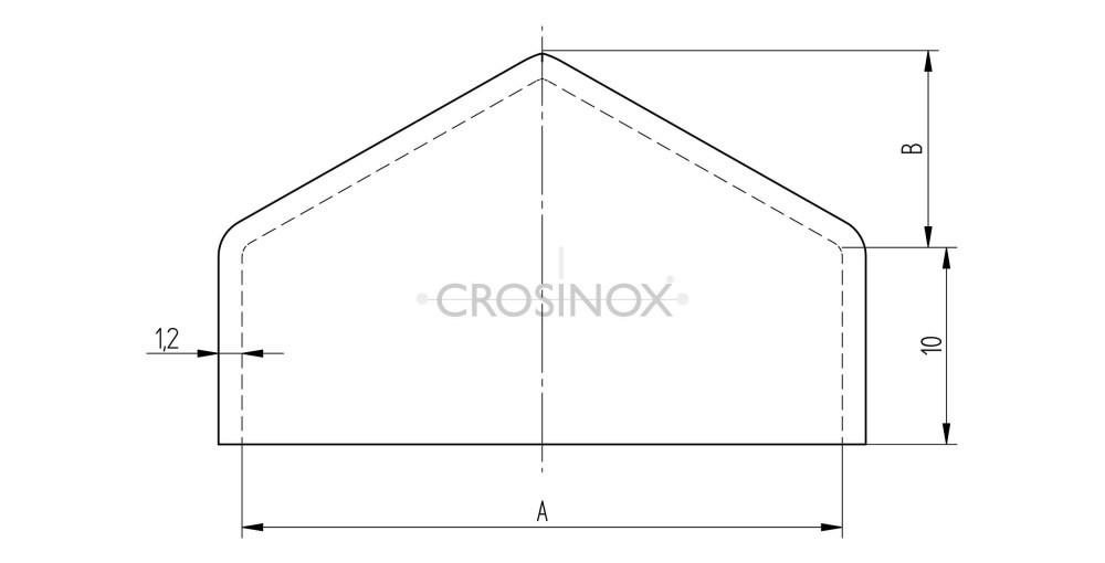 Crosinox Pyramidenkappe für Quadratrohre Zeichnung
