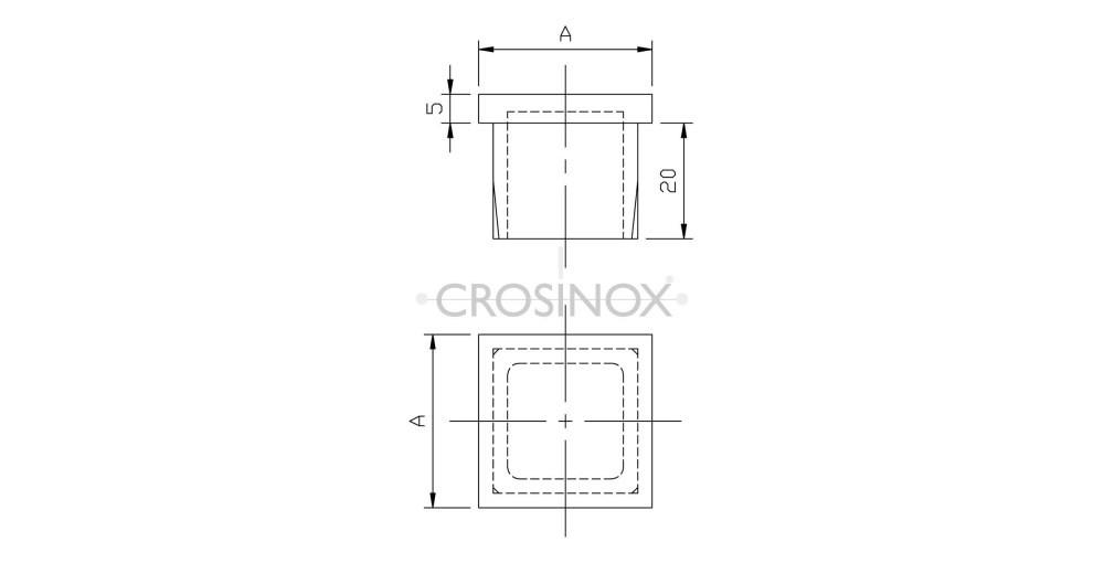 Crosinox Einsteckkappe für Quadratrohre Zeichnung