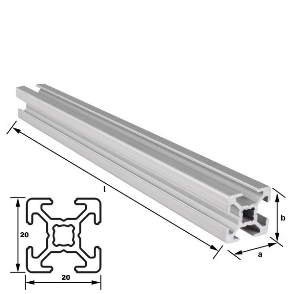 Alu-Konstruktionsprofil 20 x 20 mm Nut 6 mm EN AW 6063 T66 - eloxiert E6 EV1, (HL6)
