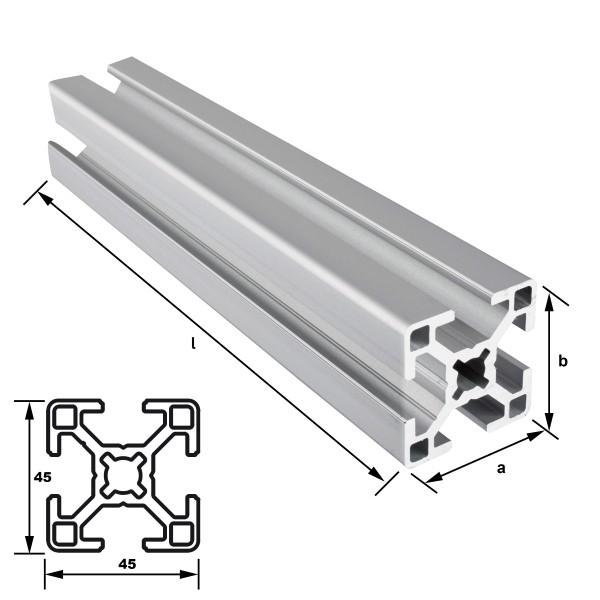 Alu-Konstruktionsprofil 45 x 45 mm Nut 10 mm EN AW 6063 T66 - eloxiert E6 EV1, (HL6)