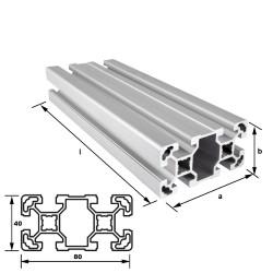 Alu-Konstuktionsprofil 80 x 40 mm Nut 10 mm leicht