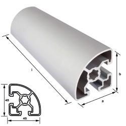 Alu-Konstuktionsprofil 45 x 45 mm Nut 10 mm Viertelkreis